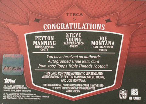 2007 Topps Triple Threads Relic Card No. TTRCA-5 Autograph Peyton Manning, Steve Young, and Joe Montana #6/36
