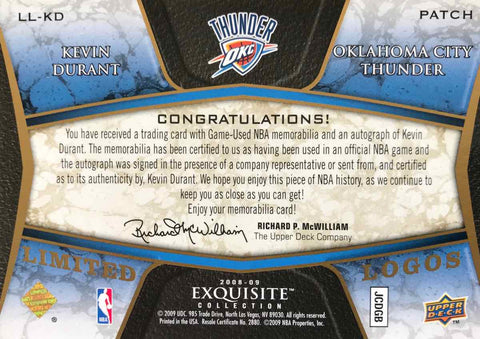 2008-09 Upper Deck Exquisite Collection LL-KD Game-Used Patch Autograph Kevin Durant #10/25