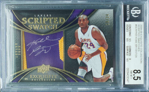2008-09 Upper Deck Exquisite Collection No. SCRP-KB Scripted Swatch Game-Used Patch Autograph Kobe Bryant #19/24 (BGS 8.5 NM-MT+)