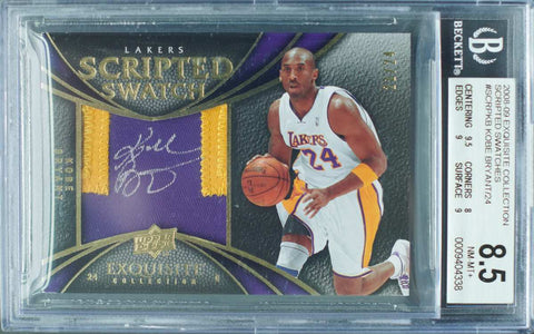 2008-09 Upper Deck Exquisite Collection No. SCRP-KB Scripted Swatch Game-Used Patch Autograph Kobe Bryant #21/24 (BGS 8.5 NM-MT+)