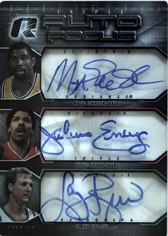 2008-09 Upper Deck NBA Radiance Triple Autograph Focus Magic Johnson, Julius Erving, Larry Bird