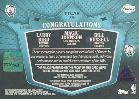 2008 Topps Triple Threads Sapphire Card No. TTCAR-15 Autograph Larry Bird, Magic Johnson, and Bill Russell #1/1