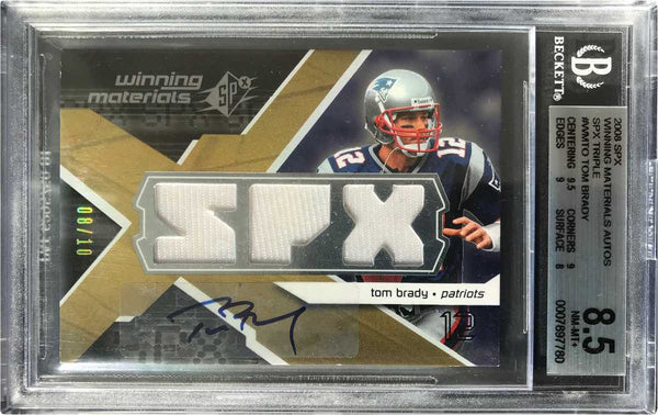 2008 Upper Deck SPX Triple No. WM-TO Game-Used Materials Autograph Tom Brady #8/10 (BGS 8.5 NM-MT+)