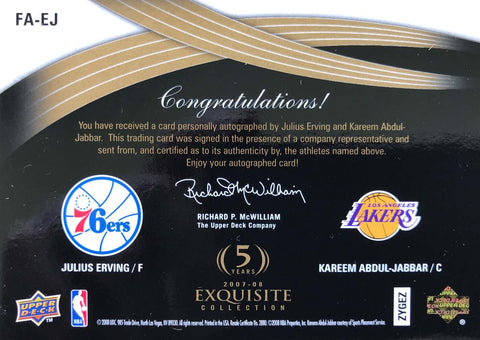 2008 Upper Deck Finalists Exquisite Collection Dual Autograph Julius Erving and Kareem Abdul-Jabbar #19/25