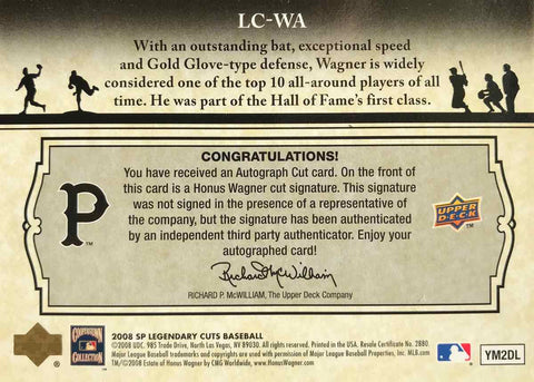 2008 Upper Deck SP Legendary Cuts Baseball No. LC-WA Autograph Honus Wagner #4/6