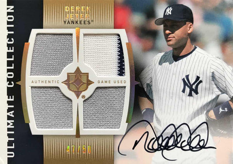 2008 Upper Deck Ultimate Collection Baseball No. UM-DJ Game-Used Material Autograph Derek Jeter #47/50
