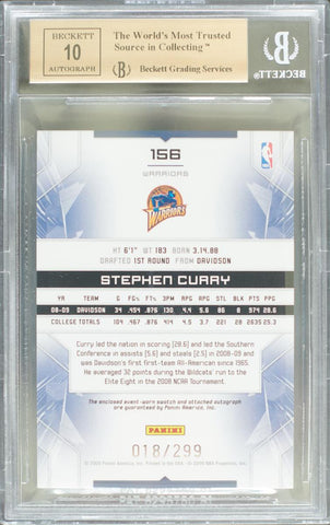 2009-10 Panini Limited Card No. 156 Event-Worn Swatch Autograph Stephen Curry #18/299 (BGS 10 Pristine)