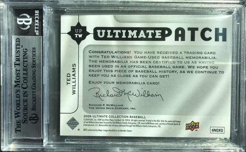 2009 Ultimate Collection Autograph Patch Ted Williams #15/22 (BGS 9 Mint)
