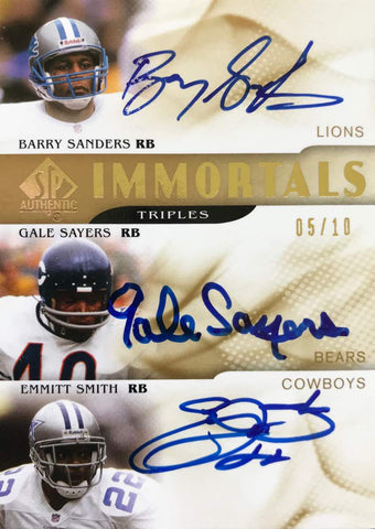 2009 Upper Deck SP Authentic Immortals Triples Autograph Barry Sanders, Gale Sayers, and Emmitt Smith #5/10