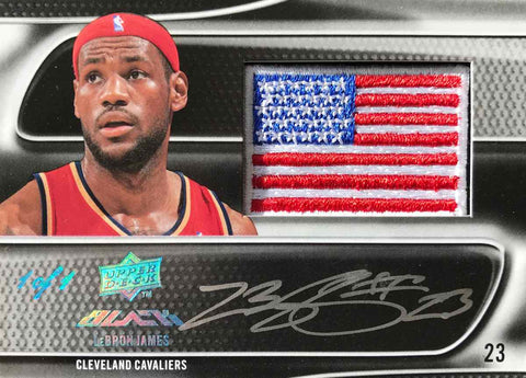 2009 Upper Deck Autographed USA Flag Patch LeBron James #1/1