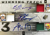 2009 Upper Deck SPX Winning Trios No. W3-SQB Game-Used Materials Autograph Eli Manning, Peyton Manning, and Aaron Rodgers #7/10