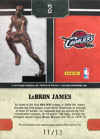 2010 Panini Timeless Treasures 09-10 Card No. 2 MVP Game-Worn Materials LeBron James #11/13