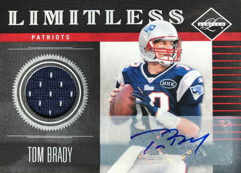 2011 Panini Limitless Card No. 19 Game-Worn Material Autograph Tom Brady #15/15