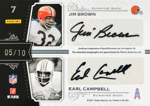 2011 Panini National Treasures Quad Signature Emmitt Smith, Barry Sanders, Jim Brown, and Earl Campbell #5/10