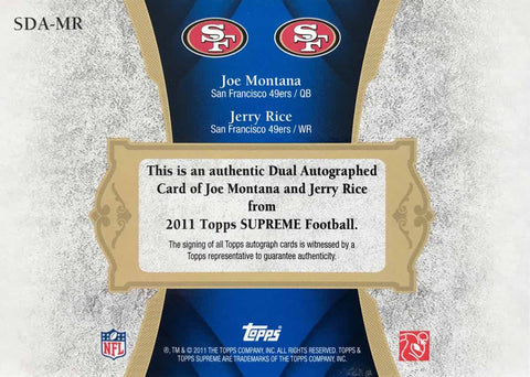 2011 Topps Supreme Football No. SDA-MR Dual-Autograph Joe Montana and Jerry Rice #21/25