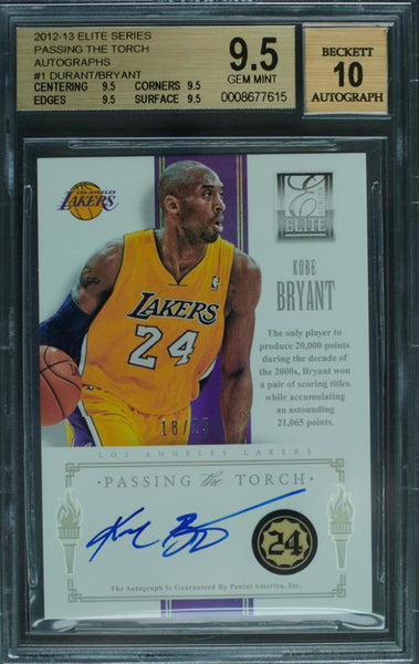 2012-13 Panini Elite Card No. 1 Passing the Torch Dual-Autograph Kobe Bryant and Kevin Durant #18/25 (BGS 9.5 Gem Mint)