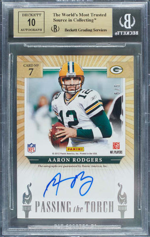 2012 Panini Elite Passing the Torch Card No. 7 Dual-Autograph Peyton Manning and Aaron Rodgers #5/5 (BGS 9.5 Gem Mint)