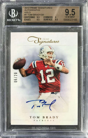 2012 Panini Prime Signatures Card No. 1 Autograph Tom Brady  #6/20 (BGS 9.5 Gem Mint)