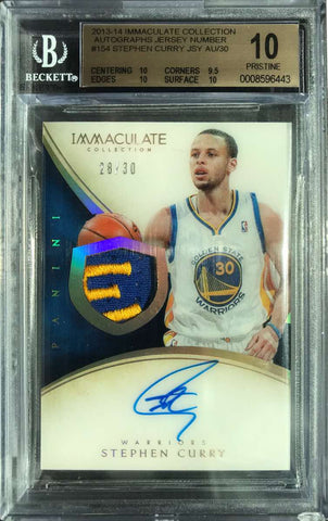 2013-14 Immaculate Collection Autograph Jersey #154 Stephen Curry #28/30 (BGS 10 Pristine)
