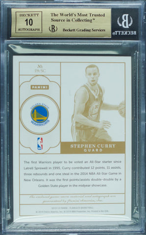 2013-14 Panini Flawless No. PA-SC Game-Worn Patch Autograph Stephen Curry #9/15 (BGS 9.5 Gem Mint)