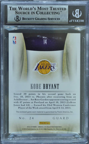 2013-14 Panini Immaculate Collection No. 14 Game-Worn Patch Autograph Kobe Bryant #2/5 (BGS 9 MINT)