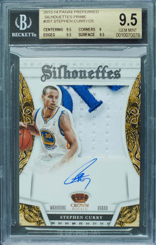 2013-14 Panini Preferred Silhouettes Prime Card No. 57 Game-Worn Material Autograph Stephen Curry #15/25 (BGS 9.5 Gem Mint)