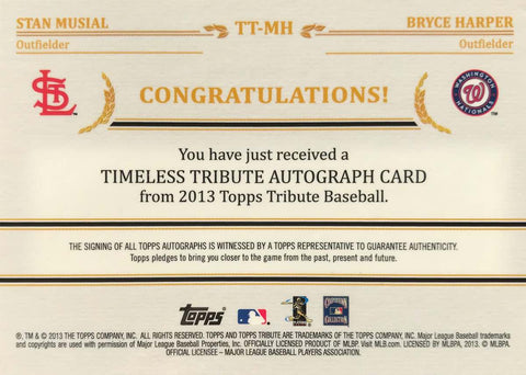 2013 Topps Timeless Tribute Baseball No. TT-MH Dual-Autograph Stan Musial and Bryce Harper #4/24