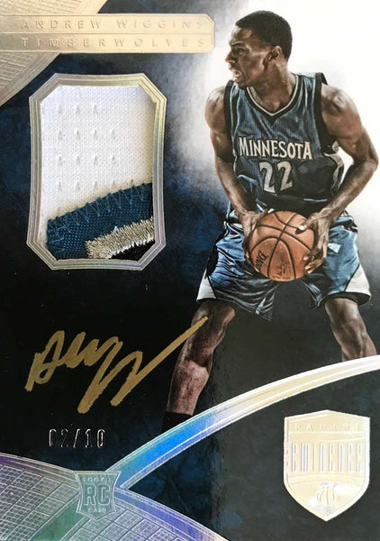 2014-15 Panini Eminence Rookie Card PA-AW Game-Worn Material Autograph Andrew Wiggins #2/10