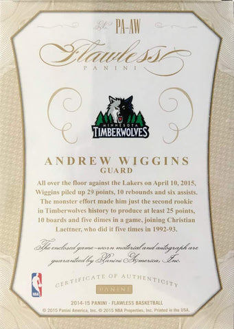 2014-15 Flawless Panini Autograph Andrew Wiggins #23/25