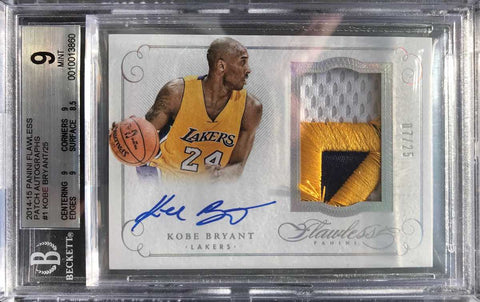 2014-15 Panini Flawless Card No. PA-KB Game-Worn Material Autograph Kobe Bryant #7/25 (BGS 9 Mint)