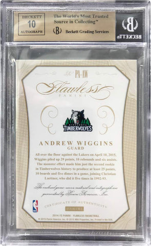2014-15 Panini Flawless Game-Worn Patch No. PA-AW Autograph Andrew Wiggins #24/25 (BGS 9.5 Gem Mint)