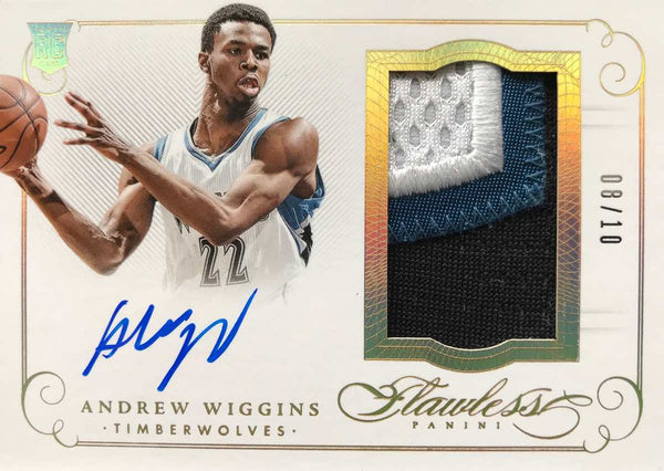 2014-15 Panini Flawless PA-AW Game-Worn Material Autograph Andrew Wiggins #8/10