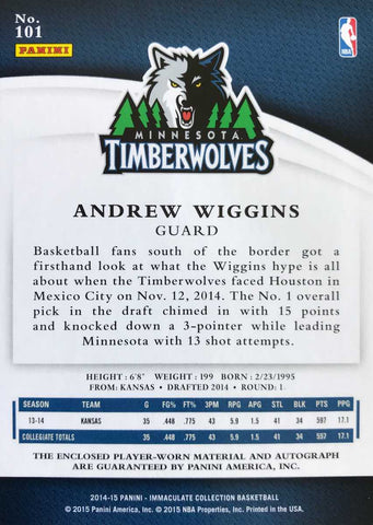 2014-15 Panini Immaculate Collection Rookie Card No. 101 Player-Worn Material Autograph Andrew Wiggins #66/99