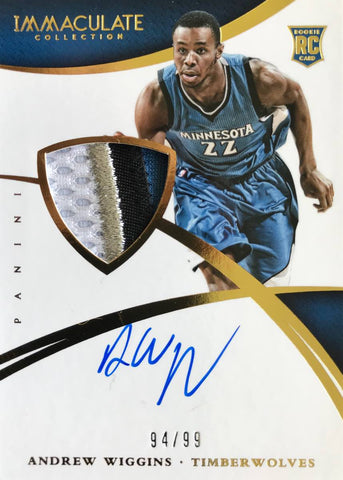 2014-15 Panini Immaculate Collection Rookie Card No. 101 Player-Worn Material Autograph Andrew Wiggins #94/99