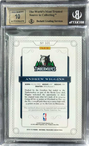 2014-15 Panini National Treasures Basketball No. 101 Autograph Andrew Wiggins #20/99 (BGS 9.5 Gem Mint)