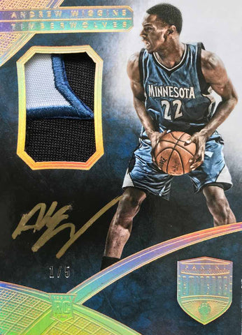 2014-15 Panini Rookie Card PA-AW Game-Worn Material Autograph Andrew Wiggins #1/5