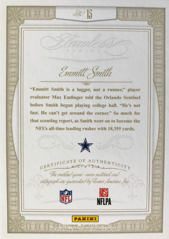 2014 Panini Greats Flawless Football Game-Worn Patch Autograph Emmitt Smith #3/5