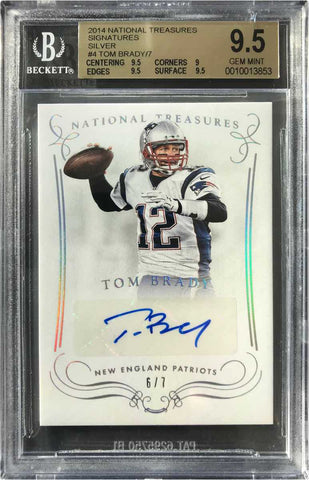 2014 Panini National Treasures No. S-TBA Autograph Tom Brady #6/7 (BGS 9.5 Gem Mint)