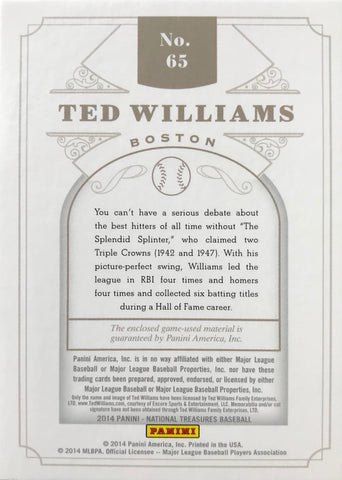 2014 Panini National Treasures Game-Used Bat Knob Autograph Ted Williams #1/1
