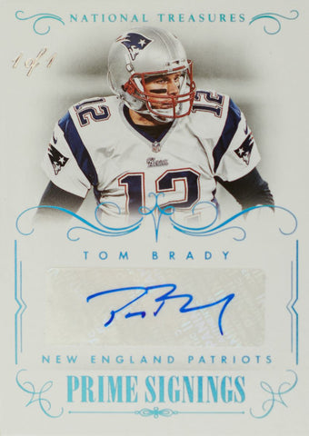 2014 Panini National Treasures Prime Signings Card No. PS-TB Autograph Tom Brady #1/1