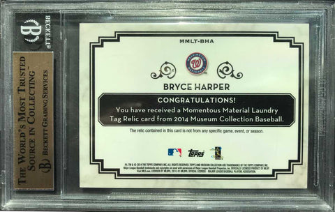 2014 TOPPS Museum Collection Laundry Tag Bryce Harper (BGS 9.5 Gem Mint)