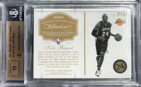 2015-16 Panini Flawless Basketball Game-Worn Dual-Patches Autograph Kobe Bryant #5/10