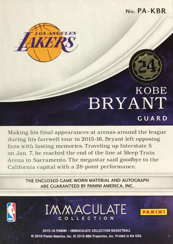 2015-16 Panini Immaculate Collection No. PA-KBR Game-Worn Material Autograph Kobe Bryant #23/24