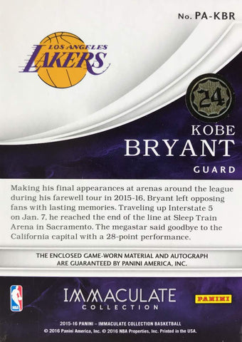 2015-16 Panini Immaculate Collection PA-KBR Game-Worn Patch Autograph Kobe Bryant #12/24
