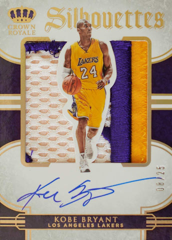 2015-16 Panini Preferred Crown Royale Silhouettes Card No. 38 Game-Worn Material Autograph Kobe Bryant #8/25