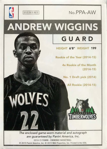 2015 Panini Eminence PPA-AW Game-Worn Material Autograph Andrew Wiggins #8/10