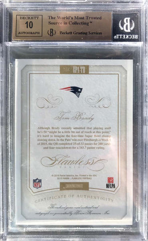 2015 Panini Flawless Greats Patch Card No. GPA-TB Autograph Tom Brady #8/10 (BGS 9.5 Gem Mint)