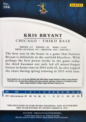 2015 Panini Immaculate Collection No.106 Player-Worn Material Autograph Kris Bryant #2/8