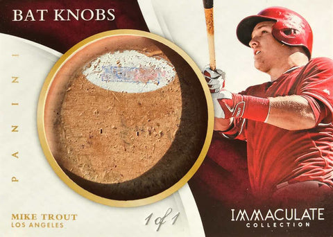 2015 Panini Immaculate Collection No. 16 Baseball Game-Used Bat Knob Autograph Mike Trout #1/1