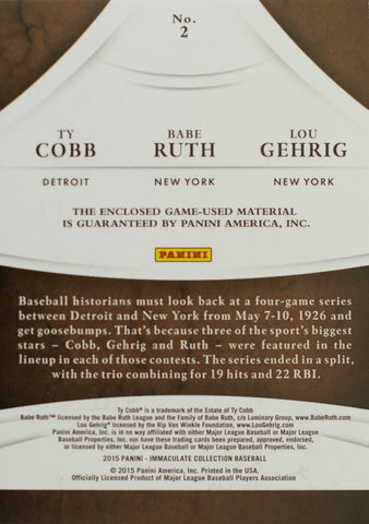 2015 Panini Immaculate Collection Card No. 2 Game-Used Material Ty Cobb, Babe Ruth, and Lou Gehrig #1/1